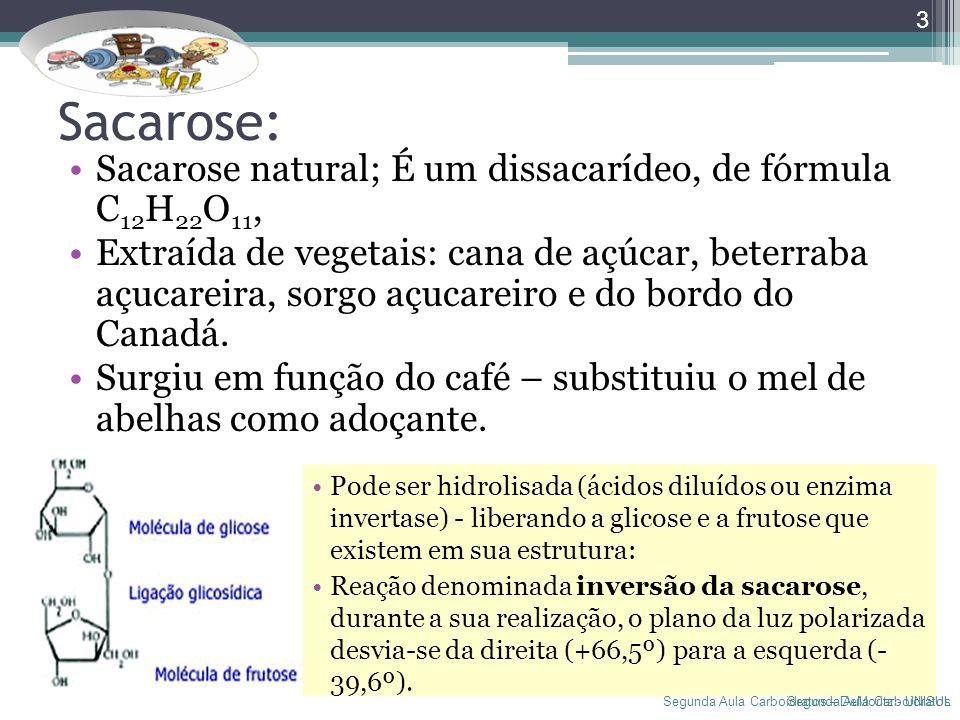 Segunda Aula Carboidratos – DeMoritz - UNISUL Sacarose: Sacarose natural; É um dissacarídeo, de fórmula C 12 H 22 O 11, Extraída de vegetais: cana de