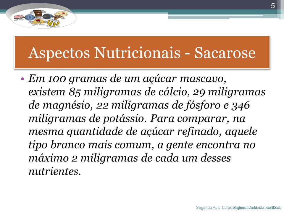 Segunda Aula Carboidratos – DeMoritz - UNISUL Aspectos Nutricionais - Sacarose Em 100 gramas de um açúcar mascavo, existem 85 miligramas de cálcio, 29