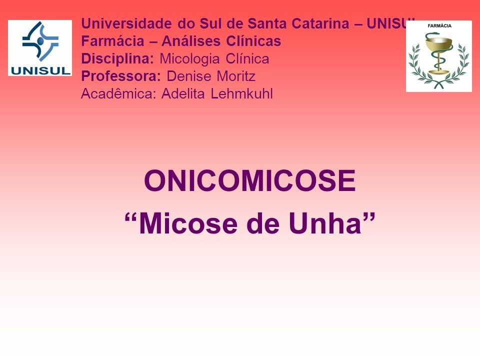 Universidade do Sul de Santa Catarina – UNISUL Farmácia – Análises Clínicas Disciplina: Micologia Clínica Professora: Denise Moritz Acadêmica: Adelita