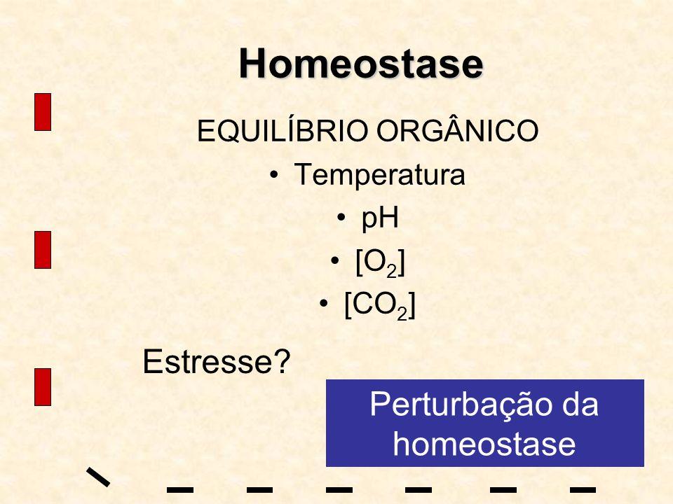 Homeostase EQUILÍBRIO ORGÂNICO Temperatura pH [O 2 ] [CO 2 ] Estresse? Perturbação da homeostase