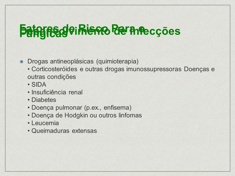 Drogas antineoplásicas (quimioterapia) Corticosteróides e outras drogas imunossupressoras Doenças e outras condições SIDA Insuficiência renal Diabetes Doença pulmonar (p.ex., enfisema) Doença de Hodgkin ou outros linfomas Leucemia Queimaduras extensas Fatores de Risco Para o Desenvolvimento de Infecções Fúngicas
