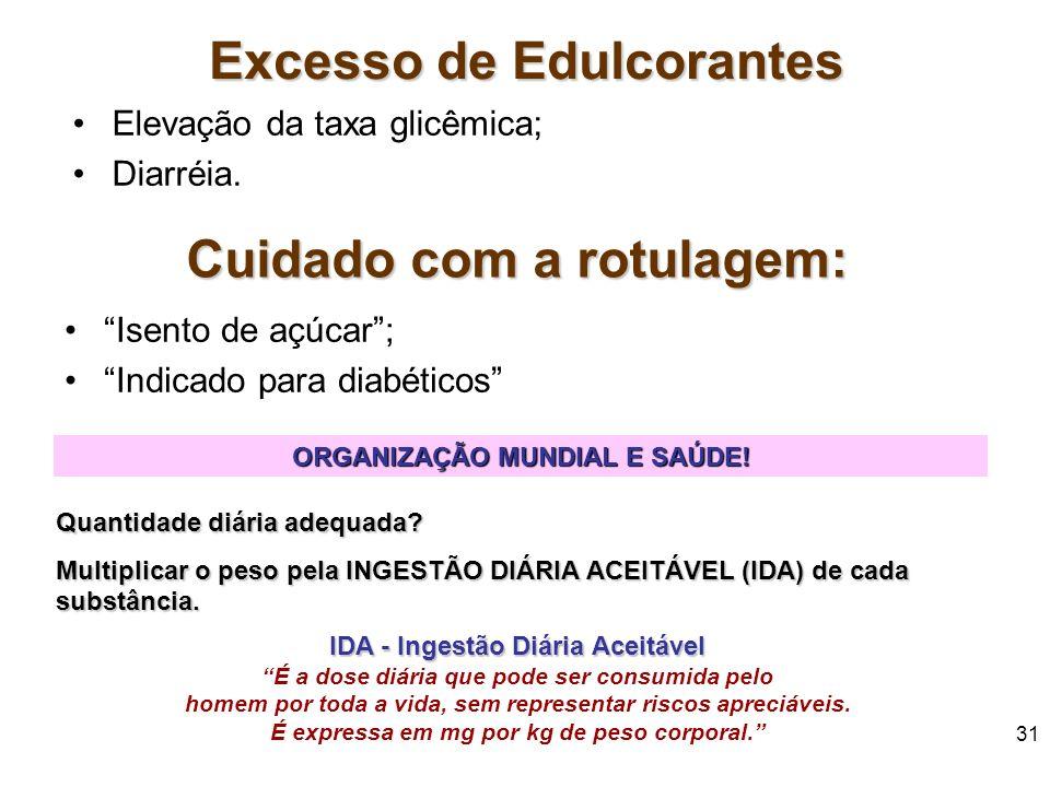30 EDULCORANTES Os edulcorantes podem ainda serem subdivididos em: –AÇÚCARES E SIMILARES: frutose, glicose, dextrose, maltose. –POLIÓIS: sorbitol, lac