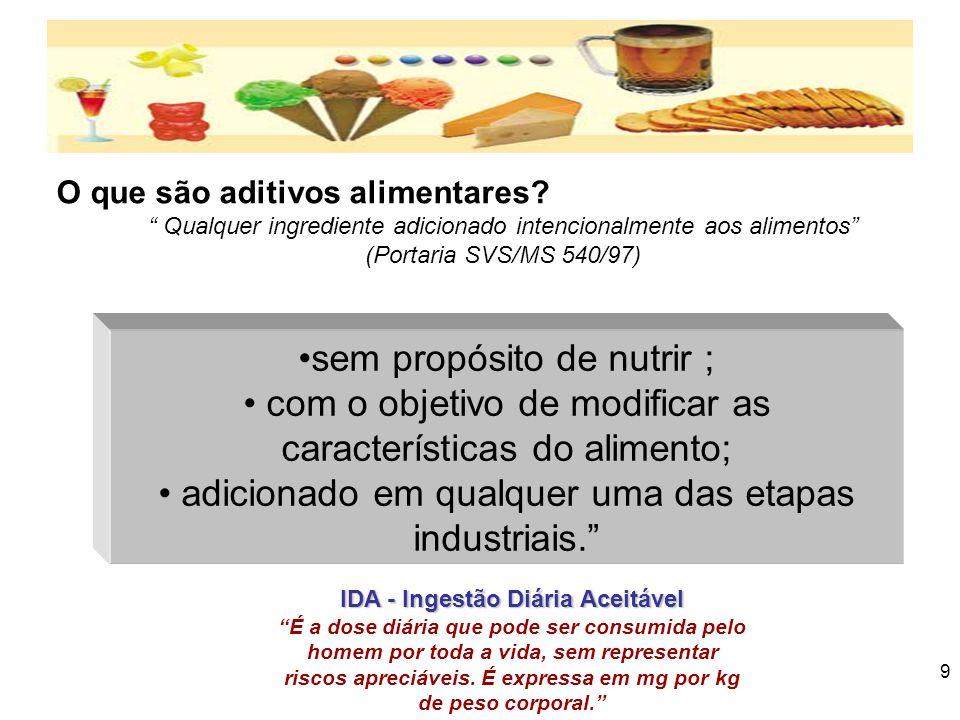 8 Principais aditivos e suas funções Aditivos FuncionaisAditivos Funcionais –Aditivos que agregam valor nutricional ao alimento ou desempenham funções