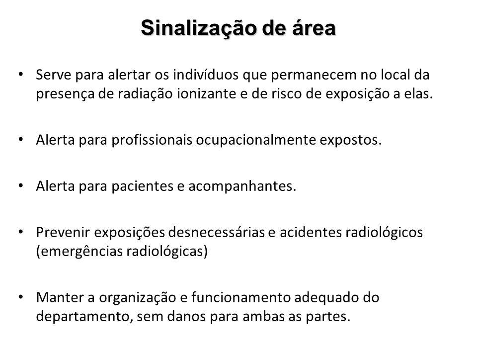 Sinalização de área Serve para alertar os indivíduos que permanecem no local da presença de radiação ionizante e de risco de exposição a elas. Alerta
