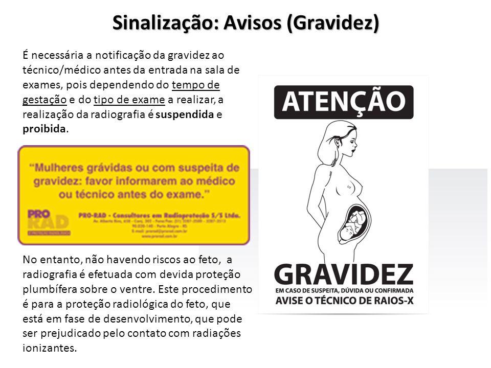 Sinalização: Avisos (Gravidez) É necessária a notificação da gravidez ao técnico/médico antes da entrada na sala de exames, pois dependendo do tempo d