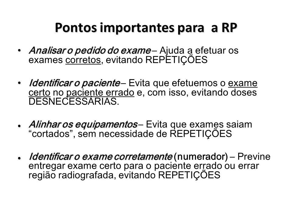 Pontos importantes para a RP Analisar o pedido do exame Analisar o pedido do exame – Ajuda a efetuar os exames corretos, evitando REPETIÇÕES Identific