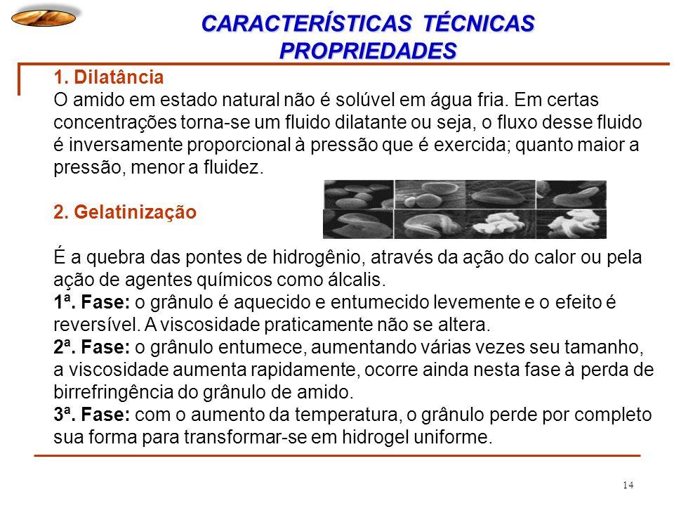 14 1. Dilatância O amido em estado natural não é solúvel em água fria. Em certas concentrações torna-se um fluido dilatante ou seja, o fluxo desse flu