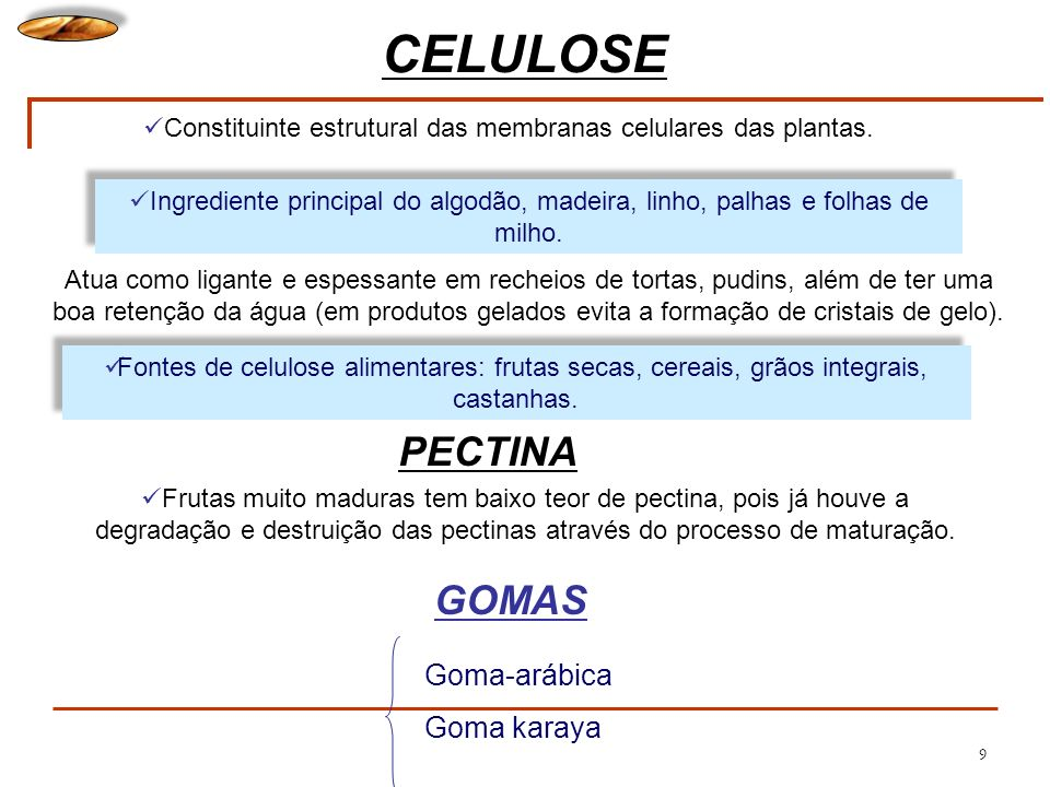 9 CELULOSE Constituinte estrutural das membranas celulares das plantas. Ingrediente principal do algodão, madeira, linho, palhas e folhas de milho. Fo
