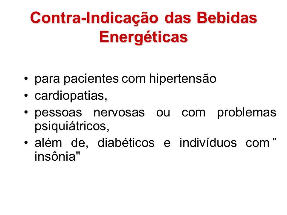 Contra-Indicação das Bebidas Energéticas para pacientes com hipertensão cardiopatias, pessoas nervosas ou com problemas psiquiátricos, além de, diabét