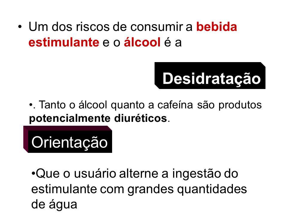 Um dos riscos de consumir a bebida estimulante e o álcool é a. Tanto o álcool quanto a cafeína são produtos potencialmente diuréticos. Desidratação Qu