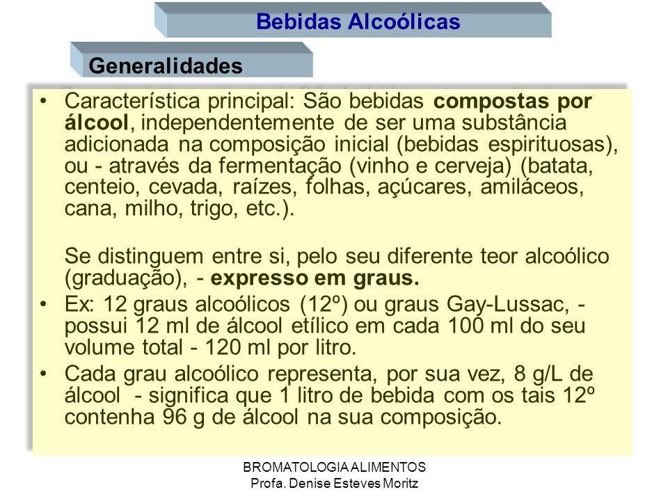 BROMATOLOGIA ALIMENTOS Profa. Denise Esteves Moritz Generalidades Característica principal: São bebidas compostas por álcool, independentemente de ser