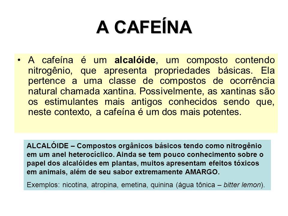 A CAFEÍNA A cafeína é um alcalóide, um composto contendo nitrogênio, que apresenta propriedades básicas. Ela pertence a uma classe de compostos de oco