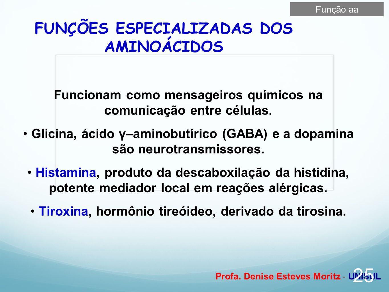Profa. Denise Esteves Moritz - UNISUL FUNÇÕES ESPECIALIZADAS DOS AMINOÁCIDOS Funcionam como mensageiros químicos na comunicação entre células. Glicina
