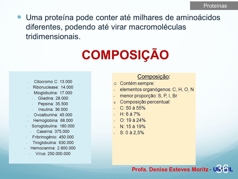 Profa. Denise Esteves Moritz - UNISUL Uma proteína pode conter até milhares de aminoácidos diferentes, podendo até virar macromoléculas tridimensionai