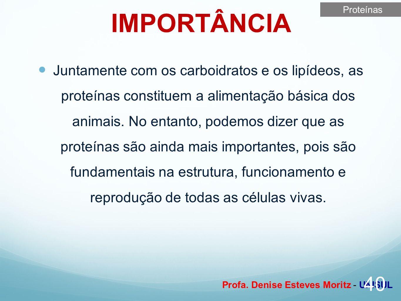 Profa. Denise Esteves Moritz - UNISUL IMPORTÂNCIA Juntamente com os carboidratos e os lipídeos, as proteínas constituem a alimentação básica dos anima