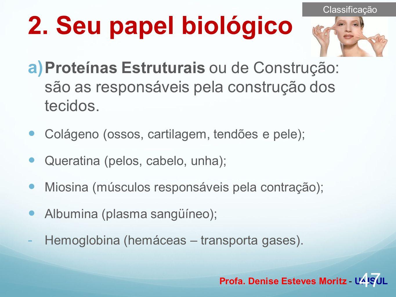 Profa. Denise Esteves Moritz - UNISUL 2. Seu papel biológico Proteínas Estruturais ou de Construção: são as responsáveis pela construção dos tecidos.