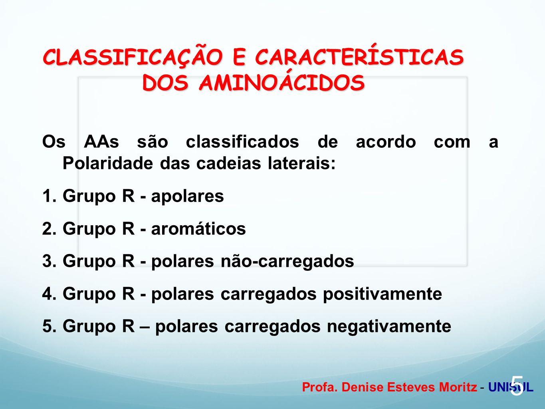 Profa. Denise Esteves Moritz - UNISUL CLASSIFICAÇÃO E CARACTERÍSTICAS DOS AMINOÁCIDOS Os AAs são classificados de acordo com a Polaridade das cadeias
