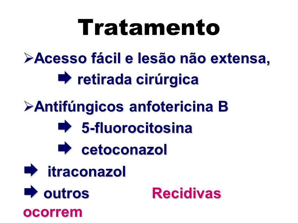Tratamento Acesso fácil e lesão não extensa, retirada cirúrgica Acesso fácil e lesão não extensa, retirada cirúrgica Antifúngicos anfotericina B 5-flu