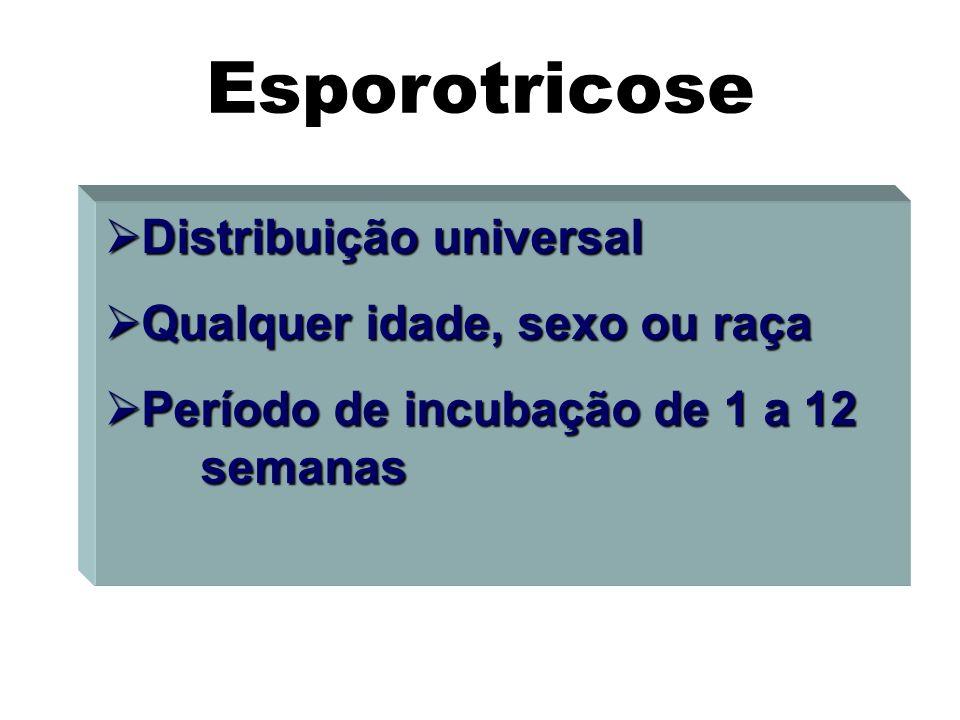 Distribuição universal Distribuição universal Qualquer idade, sexo ou raça Qualquer idade, sexo ou raça Período de incubação de 1 a 12 semanas Período