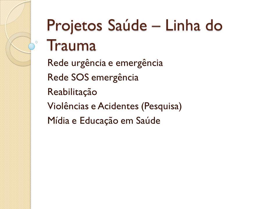 Projetos Saúde – Linha do Trauma Rede urgência e emergência Rede SOS emergência Reabilitação Violências e Acidentes (Pesquisa) Mídia e Educação em Saú