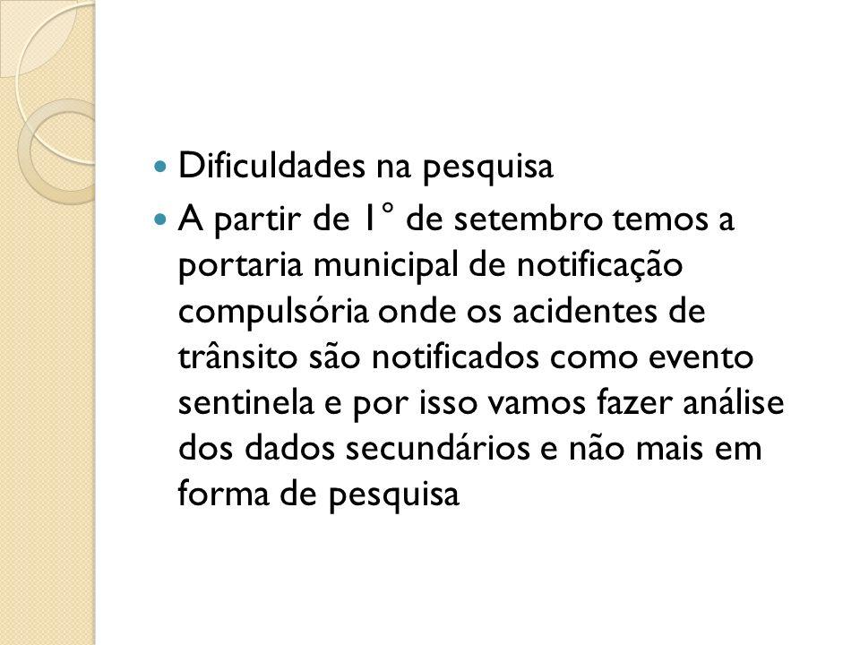 Dificuldades na pesquisa A partir de 1° de setembro temos a portaria municipal de notificação compulsória onde os acidentes de trânsito são notificado