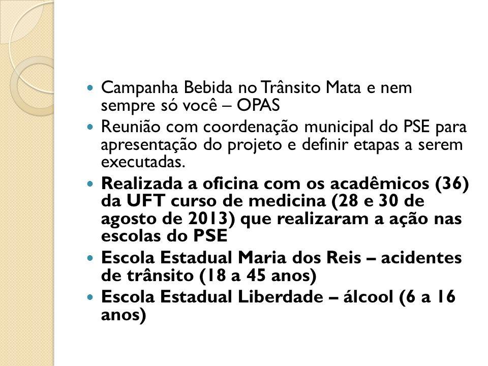 Campanha Bebida no Trânsito Mata e nem sempre só você – OPAS Reunião com coordenação municipal do PSE para apresentação do projeto e definir etapas a