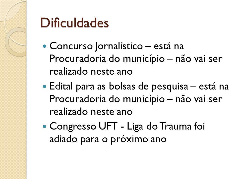 Dificuldades Concurso Jornalístico – está na Procuradoria do município – não vai ser realizado neste ano Edital para as bolsas de pesquisa – está na P