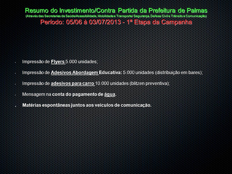 Resumo do Investimento/Contra Partida da Prefeitura de Palmas (Através das Secretarias da Saúde/Acessibilidade, Mobilidade e Transporte/ Segurança, De