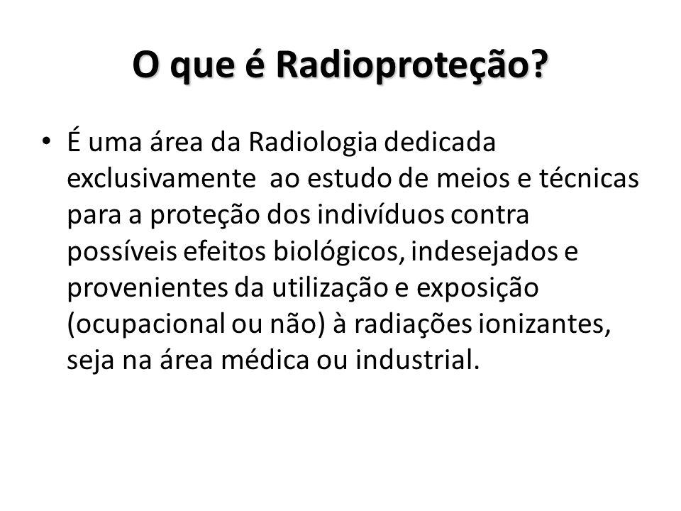 O que é Radioproteção? É uma área da Radiologia dedicada exclusivamente ao estudo de meios e técnicas para a proteção dos indivíduos contra possíveis