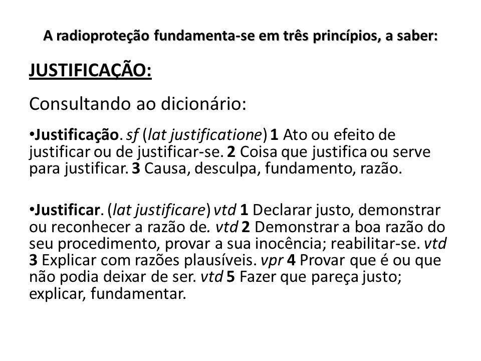 A radioproteção fundamenta-se em três princípios, a saber: JUSTIFICAÇÃO: Consultando ao dicionário: Justificação. sf (lat justificatione) 1 Ato ou efe
