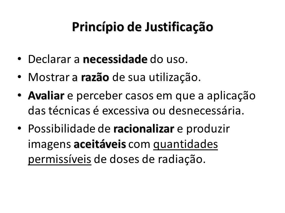 Princípio de Justificação Declarar a necessidade necessidade do uso. Mostrar a razão razão de sua utilização. Avaliar Avaliar e perceber casos em que