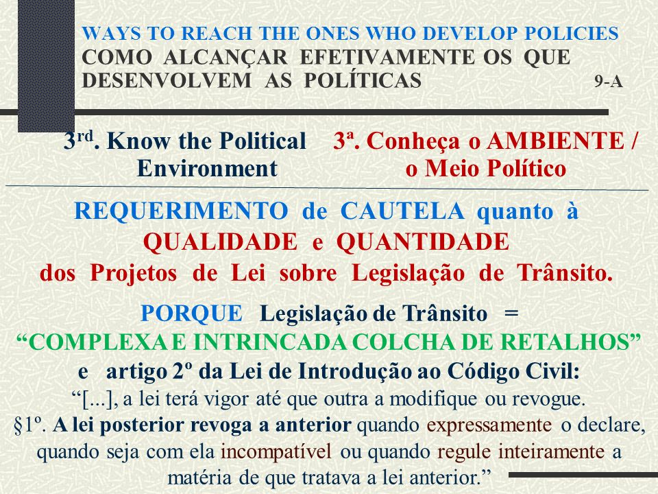 3 rd. Know the Political Environment 3ª.