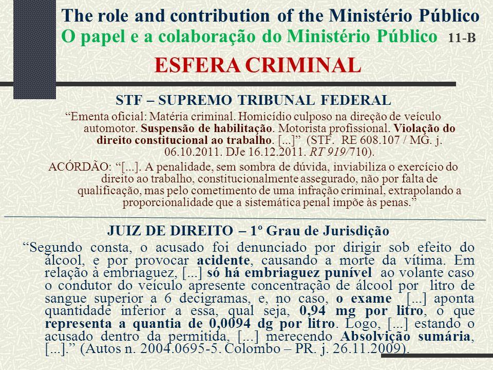 ESFERA CRIMINAL STF – SUPREMO TRIBUNAL FEDERAL Ementa oficial: Matéria criminal.