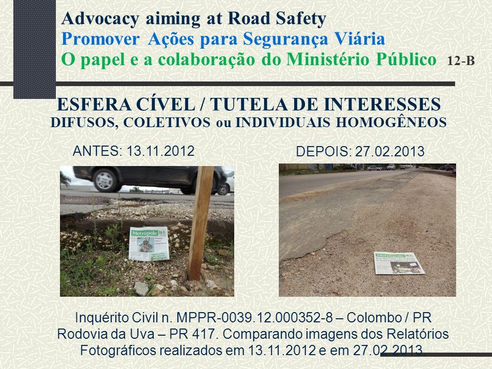 ESFERA CÍVEL / TUTELA DE INTERESSES DIFUSOS, COLETIVOS ou INDIVIDUAIS HOMOGÊNEOS ANTES: 13.11.2012 DEPOIS: 27.02.2013 Inquérito Civil n.