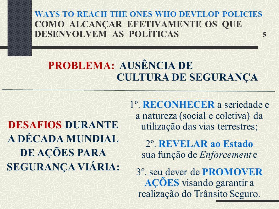 WAYS TO REACH THE ONES WHO DEVELOP POLICIES COMO ALCANÇAR EFETIVAMENTE OS QUE DESENVOLVEM AS POLÍTICAS 5 PROBLEMA: AUSÊNCIA DE CULTURA DE SEGURANÇA DESAFIOS DURANTE A DÉCADA MUNDIAL DE AÇÕES PARA SEGURANÇA VIÁRIA: 1º.
