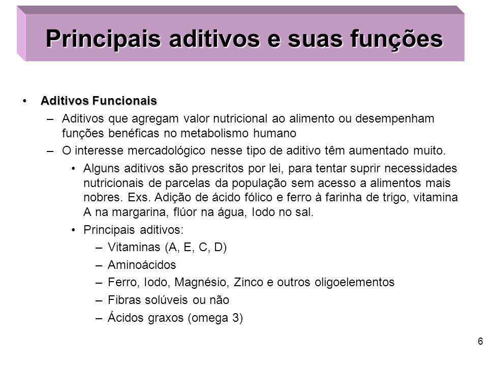 5 Classificação de Aditivo Aditivo AlimentarAditivo Alimentar: Classificação –Obrigatórios: quando se incorporam ao produto, fazendo parte de sua estr