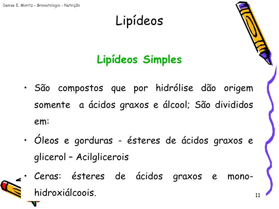 Denise E. Moritz – Bromatologia - Nutrição 11 Lipídeos Simples São compostos que por hidrólise dão origem somente a ácidos graxos e álcool; São dividi