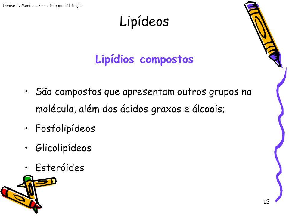 Denise E. Moritz – Bromatologia - Nutrição 12 Lipídios compostos São compostos que apresentam outros grupos na molécula, além dos ácidos graxos e álco