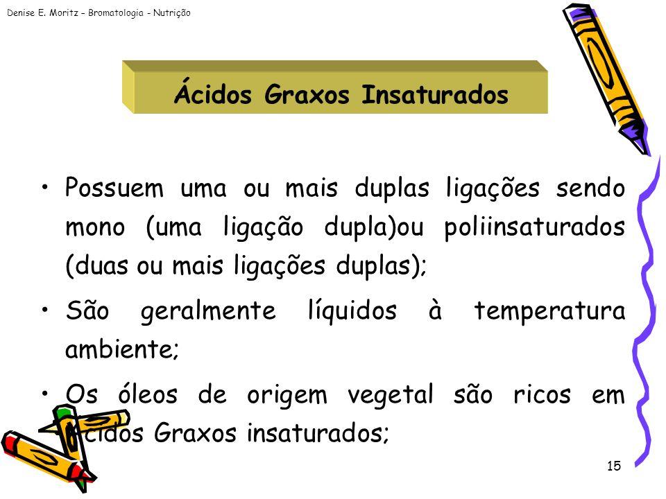 Denise E. Moritz – Bromatologia - Nutrição 15 Ácidos Graxos Insaturados Possuem uma ou mais duplas ligações sendo mono (uma ligação dupla)ou poliinsat