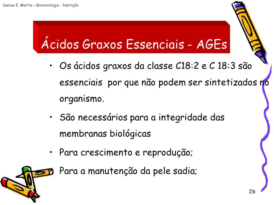 Denise E. Moritz – Bromatologia - Nutrição 26 Ácidos Graxos Essenciais - AGEs Os ácidos graxos da classe C18:2 e C 18:3 são essenciais por que não pod