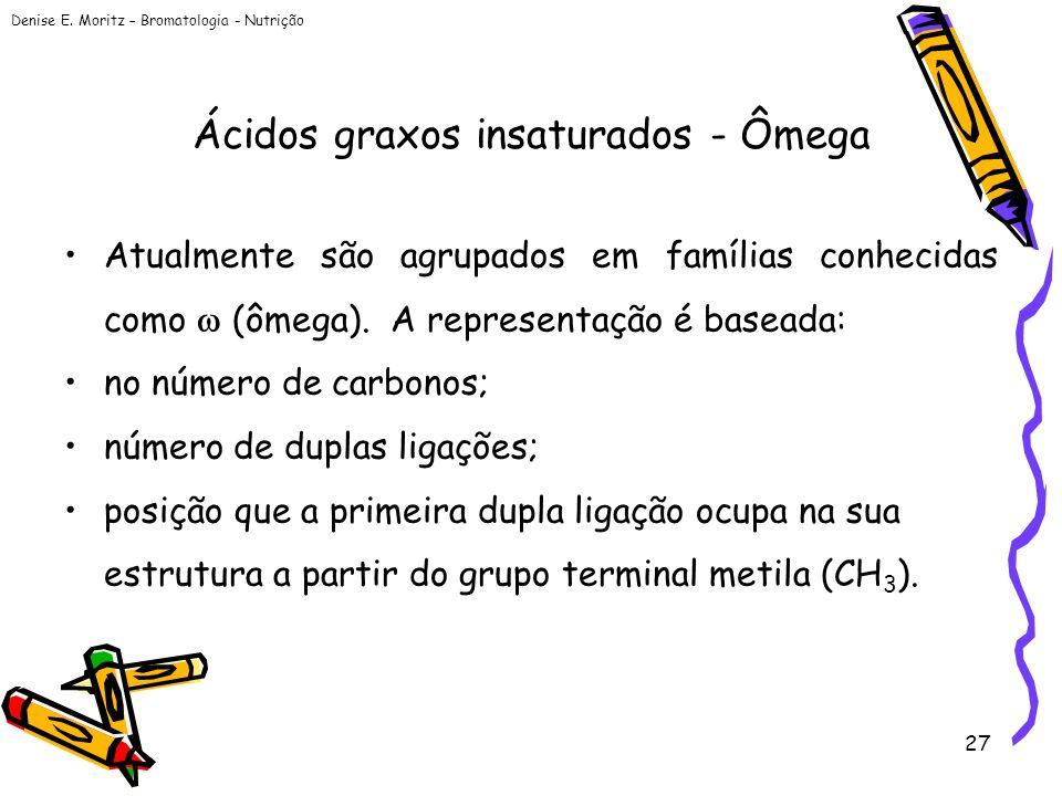 Denise E. Moritz – Bromatologia - Nutrição 27 Ácidos graxos insaturados - Ômega Atualmente são agrupados em famílias conhecidas como (ômega). A repres