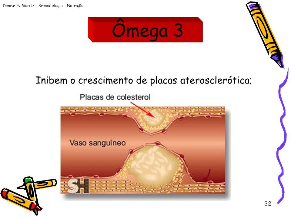 Denise E. Moritz – Bromatologia - Nutrição 32 Inibem o crescimento de placas aterosclerótica; Ômega 3