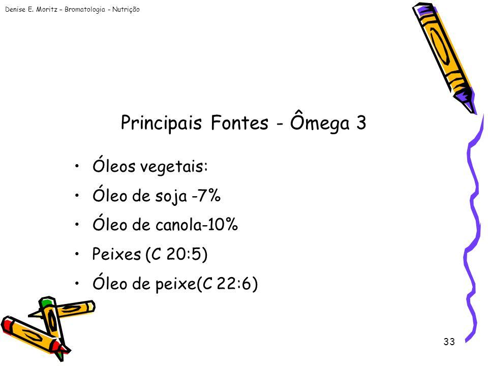 Denise E. Moritz – Bromatologia - Nutrição 33 Principais Fontes - Ômega 3 Óleos vegetais: Óleo de soja -7% Óleo de canola-10% Peixes (C 20:5) Óleo de