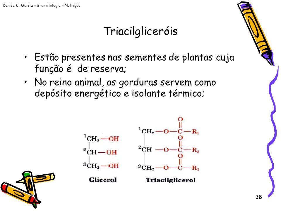 Denise E. Moritz – Bromatologia - Nutrição 38 Triacilgliceróis Estão presentes nas sementes de plantas cuja função é de reserva; No reino animal, as g