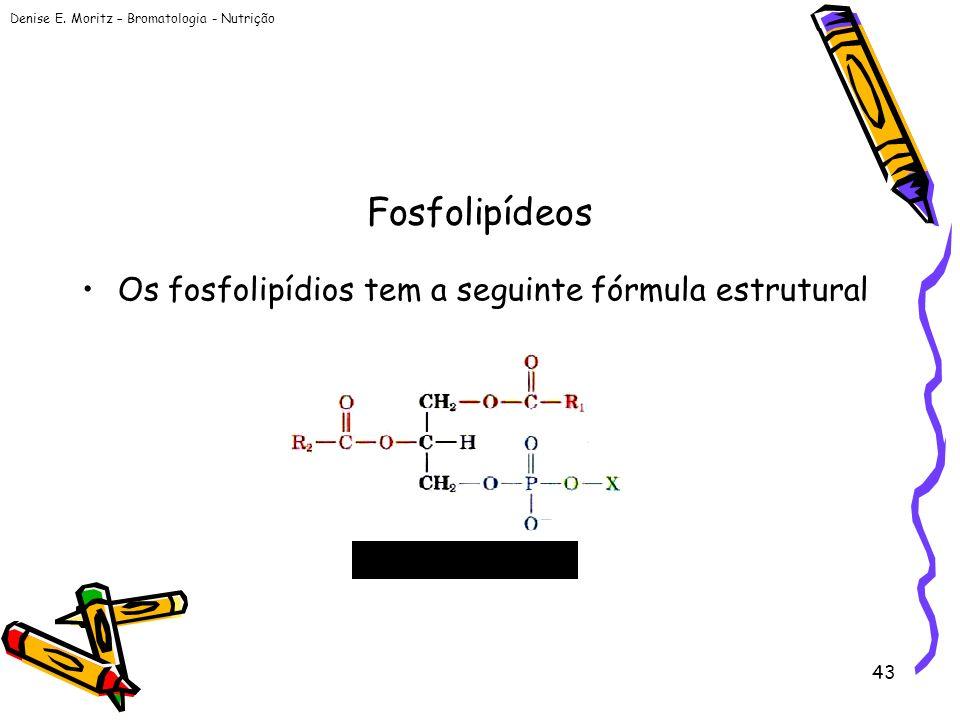 Denise E. Moritz – Bromatologia - Nutrição 43 Fosfolipídeos Os fosfolipídios tem a seguinte fórmula estrutural