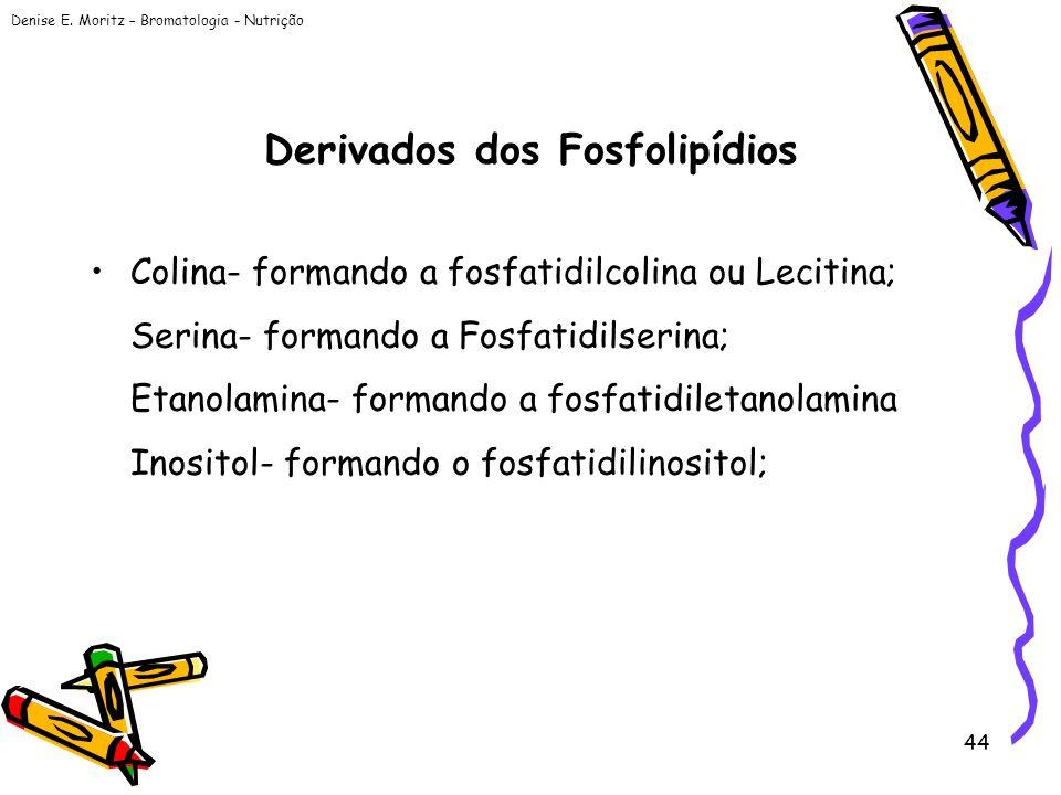 Denise E. Moritz – Bromatologia - Nutrição 44 Derivados dos Fosfolipídios Colina- formando a fosfatidilcolina ou Lecitina; Serina- formando a Fosfatid