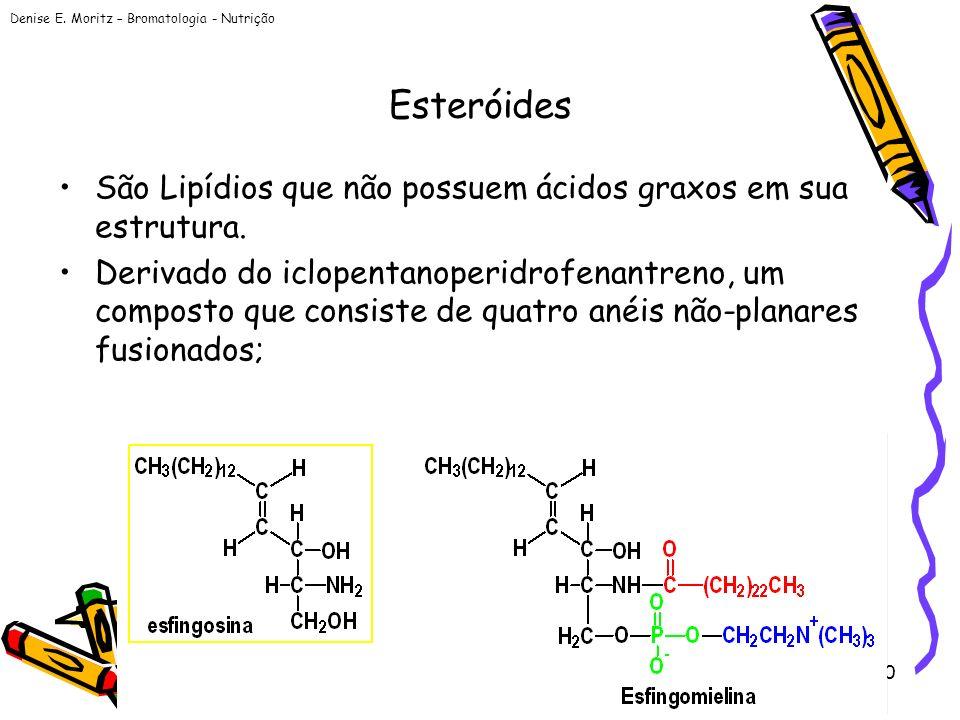 Denise E. Moritz – Bromatologia - Nutrição 50 Esteróides São Lipídios que não possuem ácidos graxos em sua estrutura. Derivado do iclopentanoperidrofe