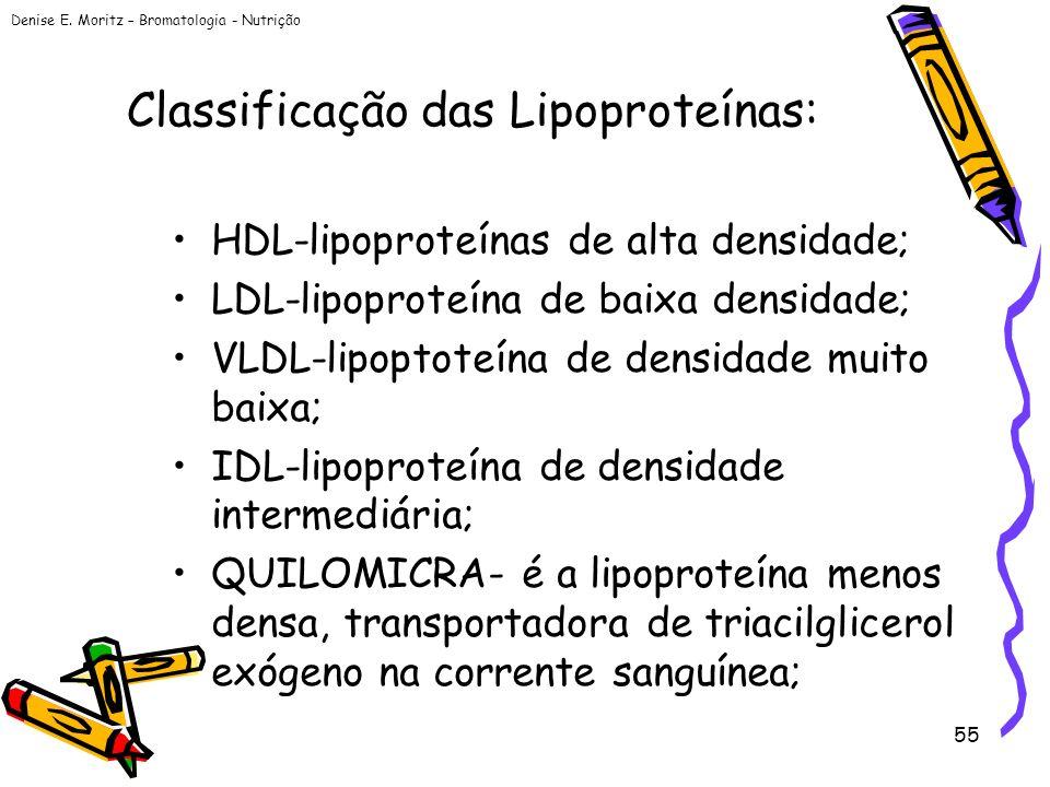 Denise E. Moritz – Bromatologia - Nutrição 55 Classificação das Lipoproteínas: HDL-lipoproteínas de alta densidade; LDL-lipoproteína de baixa densidad