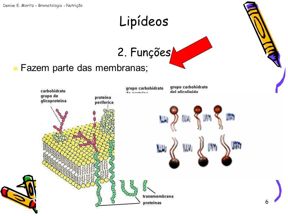 Denise E. Moritz – Bromatologia - Nutrição 6 2. Funções Fazem parte das membranas; Lipídeos