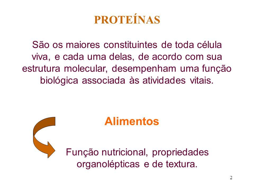 2 PROTEÍNAS São os maiores constituintes de toda célula viva, e cada uma delas, de acordo com sua estrutura molecular, desempenham uma função biológic